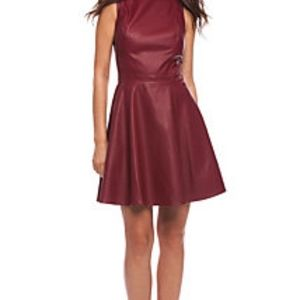 Armani Exchange red faux leather dress